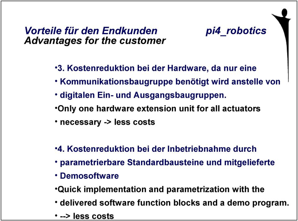 Ausgangsbaugruppen. Only one hardware extension unit for all actuators necessary -> less costs 4.