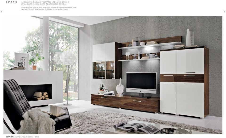 White and ebony bring to life a living area boasting dynamism and
