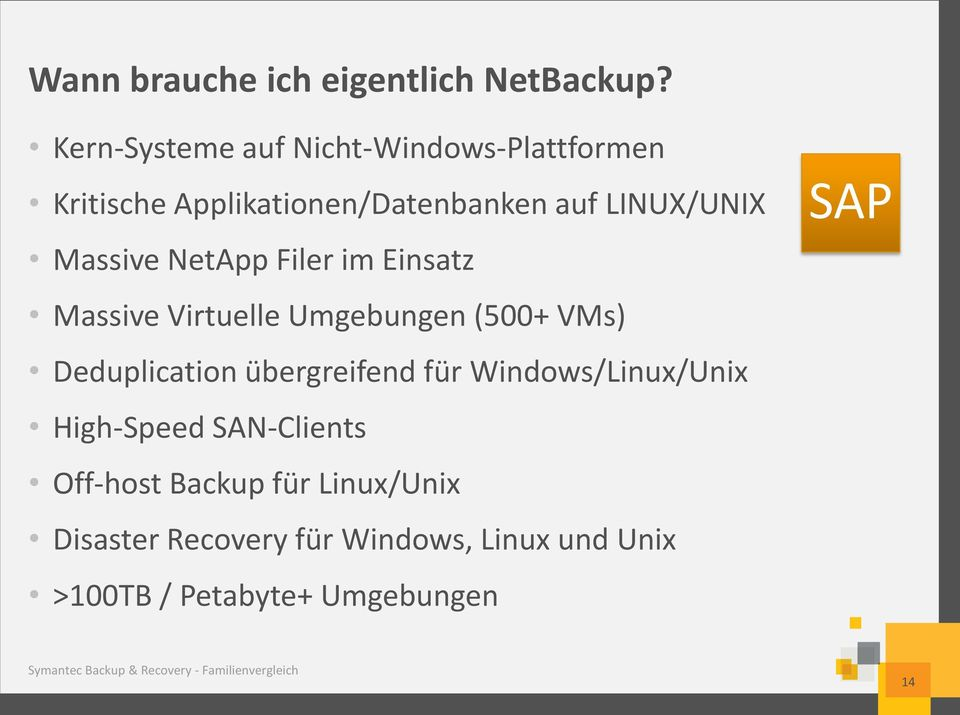 Filer im Einsatz Massive Virtuelle Umgebungen (500+ VMs) Deduplication übergreifend für Windows/Linux/Unix