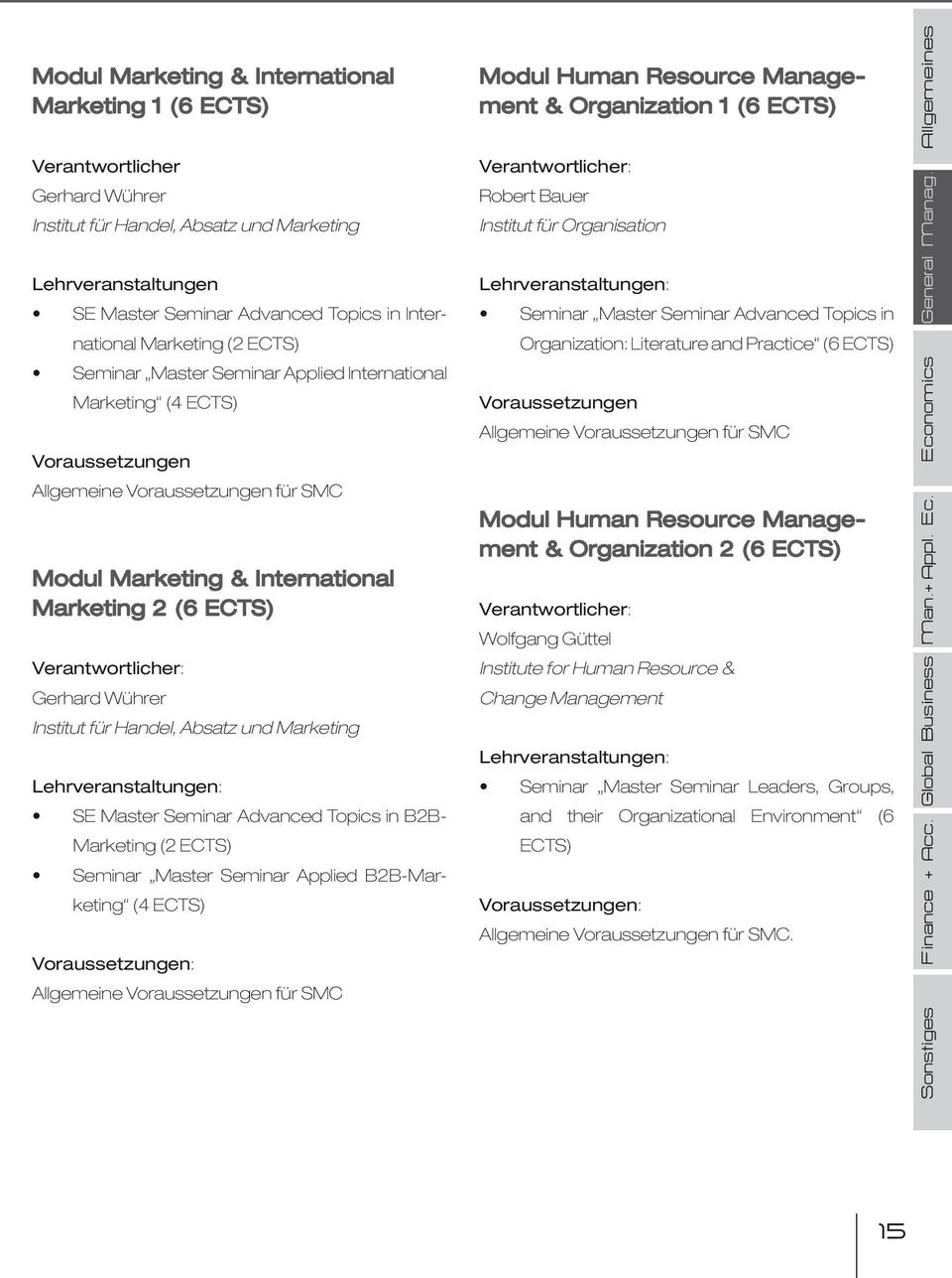 Marketing (4 ECTS) Voraussetzungen Allgemeine Voraussetzungen für SMC Modul Marketing & International Marketing 2 (6 ECTS) Verantwortlicher: Gerhard Wührer Institut für Handel, Absatz und Marketing