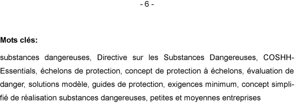 évaluation de danger, solutions modèle, guides de protection, exigences minimum,