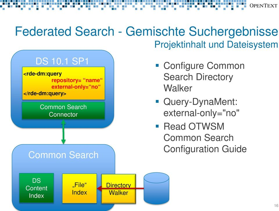 Connector Common Search Configure Common Search Directory Walker Query-DynaMent:
