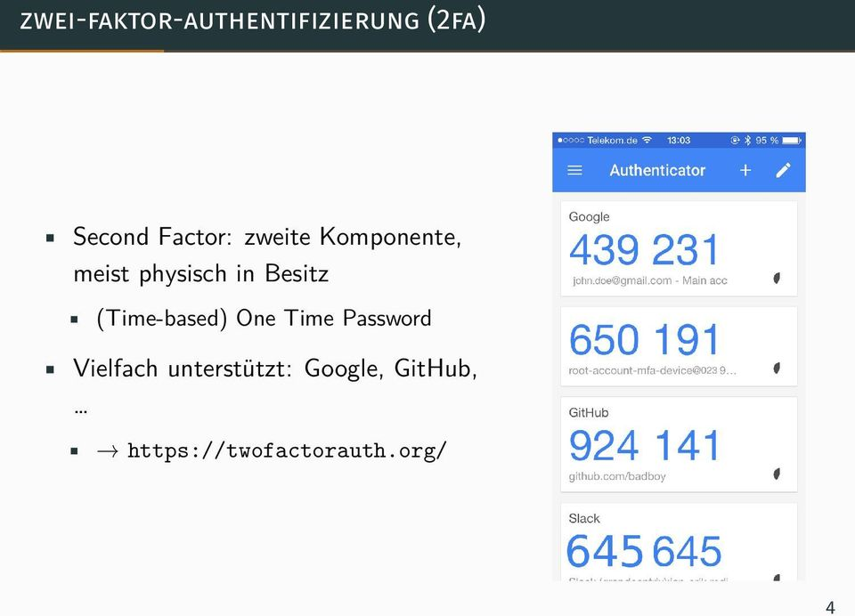 Besitz (Time-based) One Time Password Vielfach