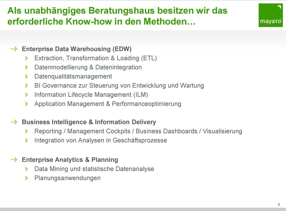 Management (ILM) Application Management & Performanceoptimierung Business Intelligence & Information Delivery Reporting / Management Cockpits / Business