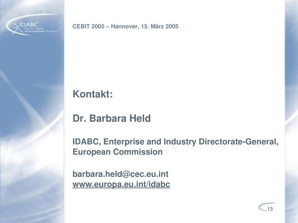 Barbara Held IDABC, Enterprise and Industry