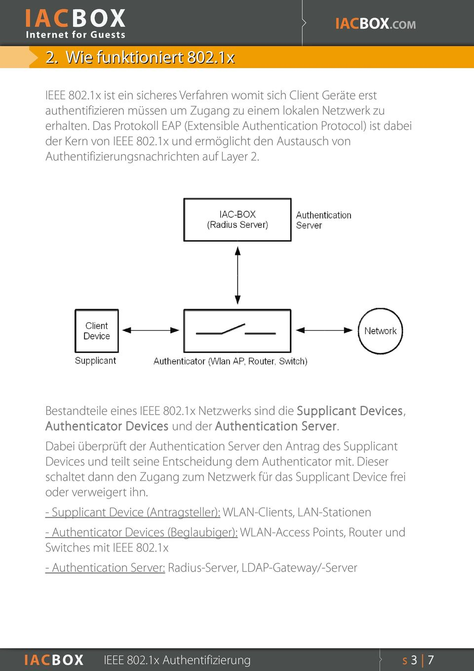 1x Netzwerks sind die Supplicant Devices, Authenticator Devices und der Authentication Server.