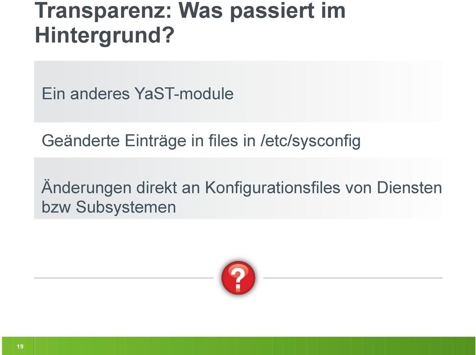 files in /etc/sysconfig Änderungen direkt an