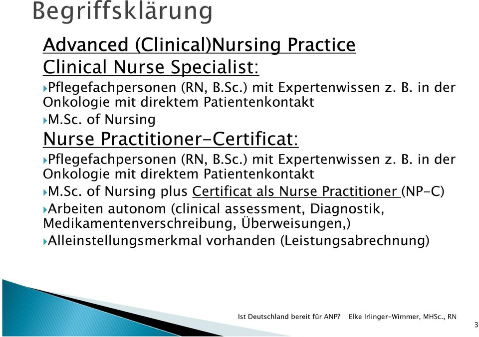 Sc. of Nursing plus Certificat als Nurse Practitioner (NP-C) Arbeiten autonom (clinical assessment, Diagnostik, Medikamentenverschreibung,