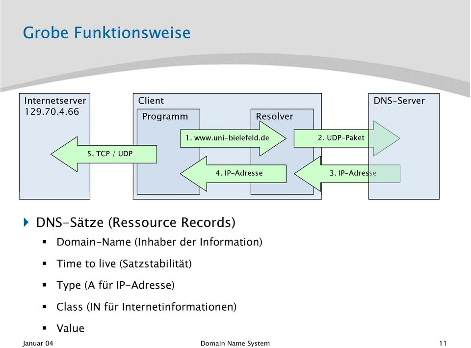 IP-Adresse DNS-Sätze (Ressource Records) Domain-Name (Inhaber der Information) Time to