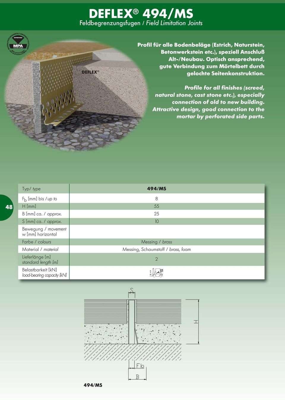 Profile for all finishes (screed, natural stone, cast stone etc.), especially connection of old to new building.
