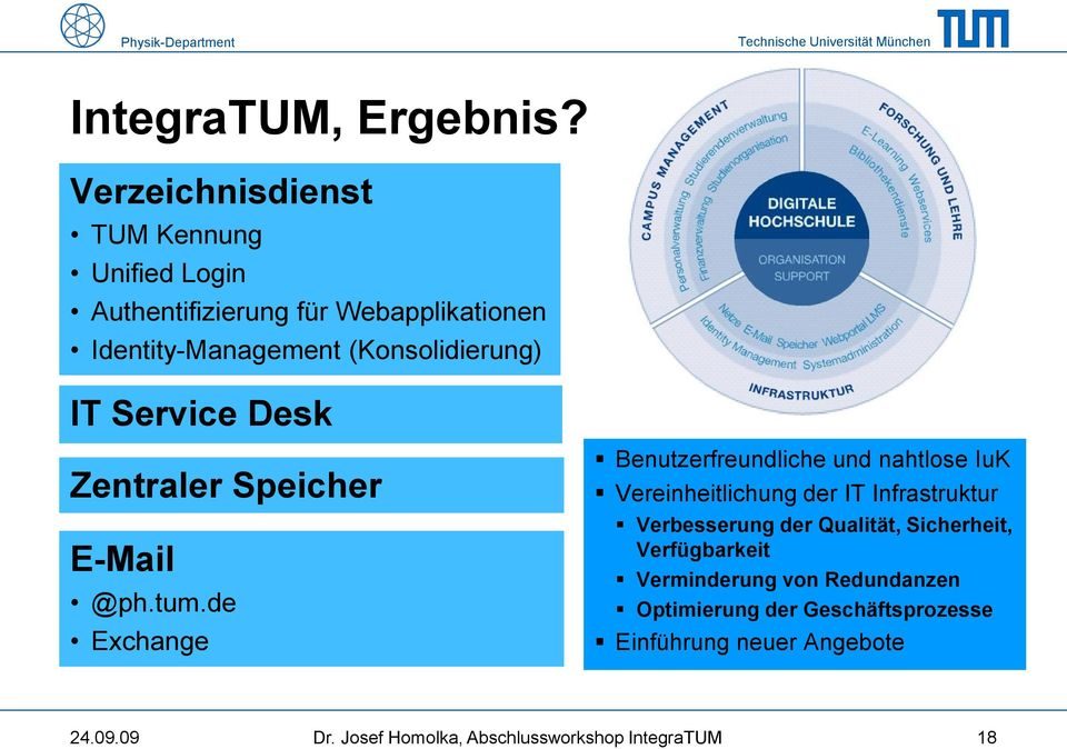(Konsolidierung) IT Service Desk Zentraler Speicher E-Mail @ph.tum.