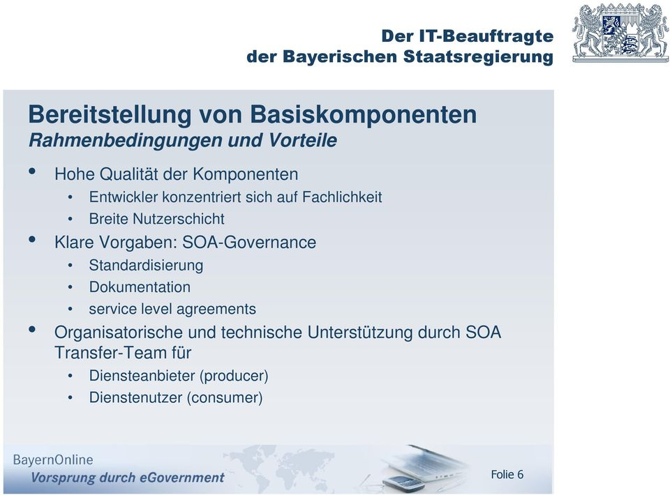 SOA-Governance Standardisierung Dokumentation service level agreements Organisatorische und