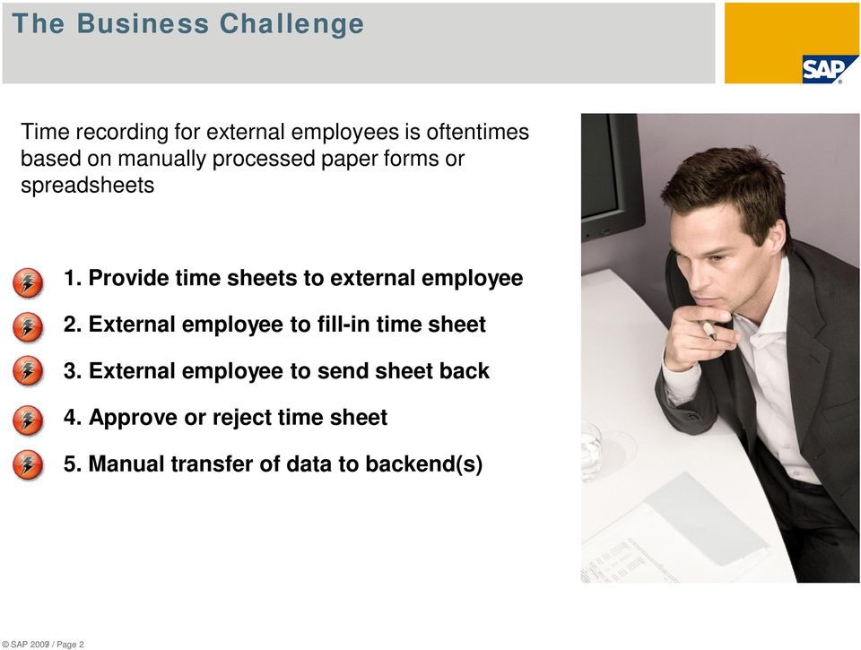 Provide time sheets to external employee 2. External employee to fill-in time sheet 3.