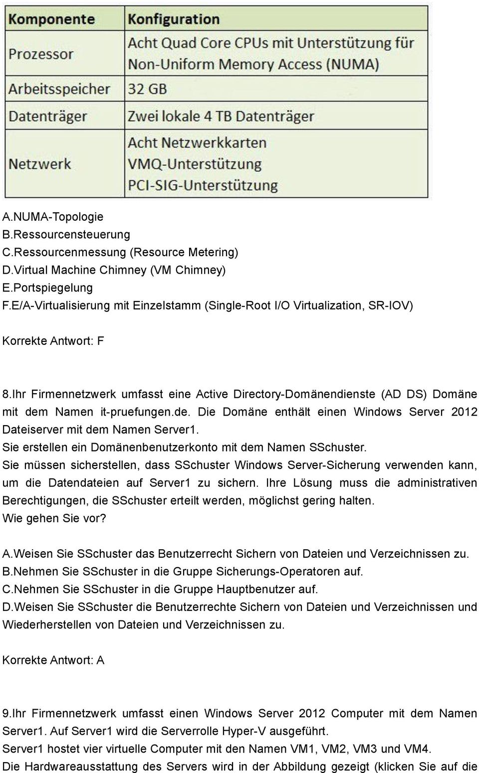 Ihr Firmennetzwerk umfasst eine Active Directory-Domänendienste (AD DS) Domäne mit dem Namen it-pruefungen.de. Die Domäne enthält einen Windows Server 2012 Dateiserver mit dem Namen Server1.