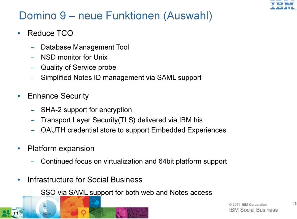delivered via IBM his OAUTH credential store to support Embedded Experiences Platform expansion Continued focus on