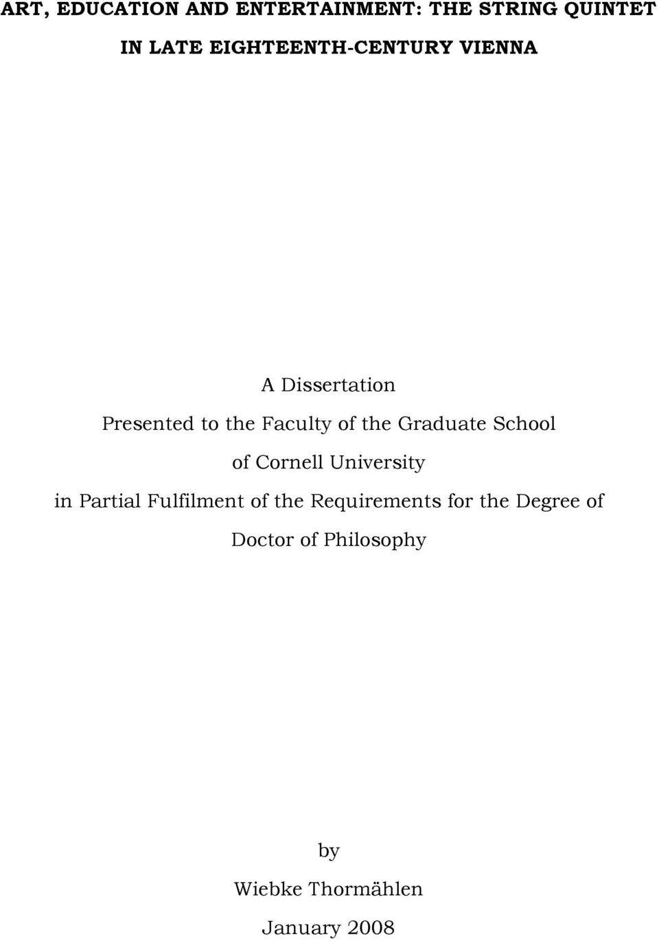 the Graduate School of Cornell University in Partial Fulfilment of the
