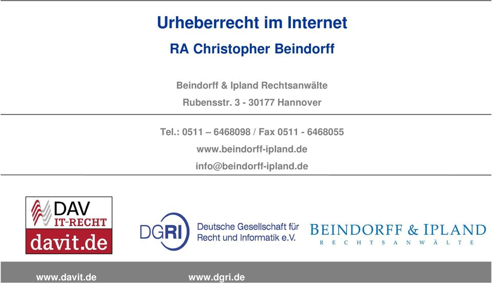 3-30177 Hannover Tel.: 0511 6468098 / Fax 0511-6468055.
