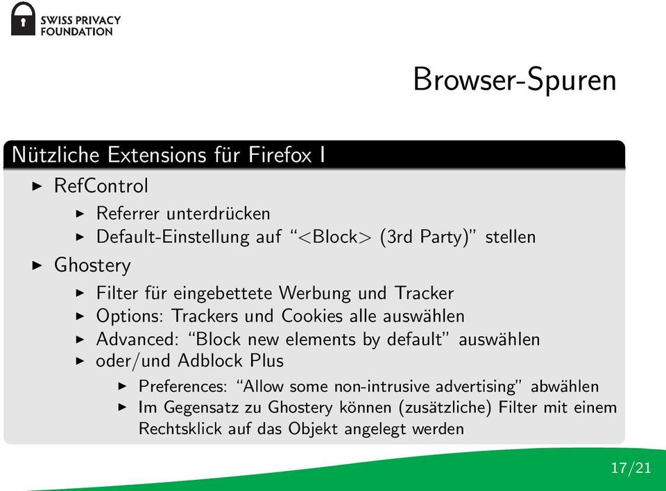 Advanced: Block new elements by default auswählen oder/und Adblock Plus Preferences: Allow some non-intrusive