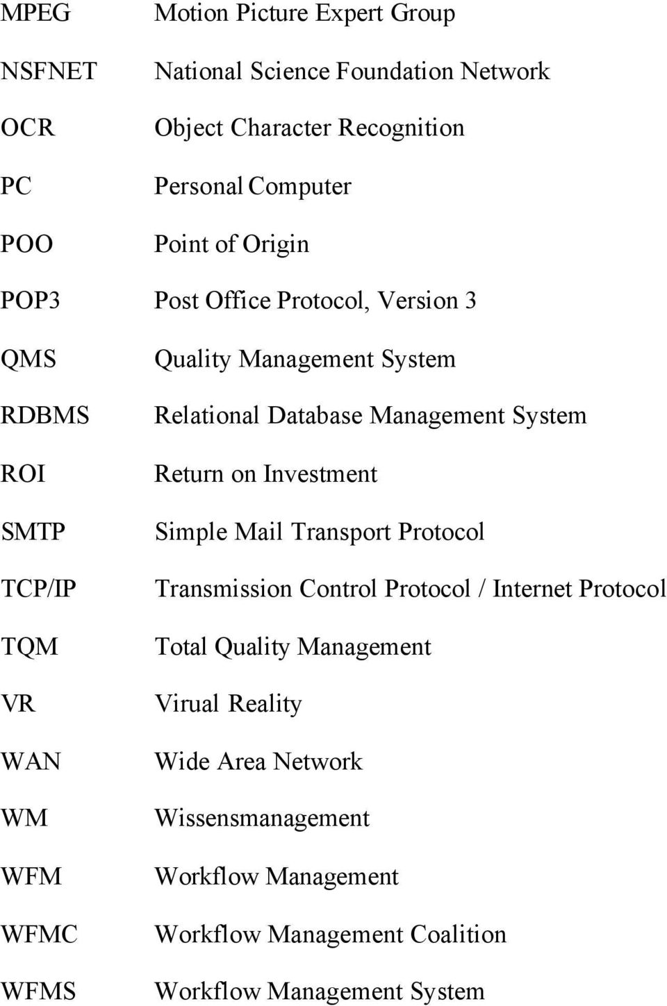 Database Management System Return on Investment Simple Mail Transport Protocol Transmission Control Protocol / Internet Protocol Total