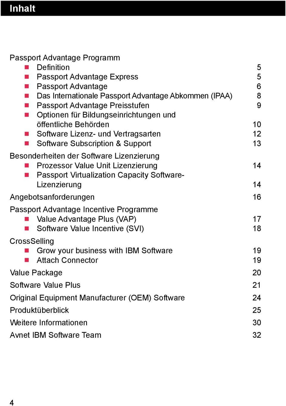 14 Passport Virtualization Capacity Software- Lizenzierung 14 Angebotsanforderungen 16 Passport Advantage Incentive Programme Value Advantage Plus (VAP) 17 Software Value Incentive (SVI) 18