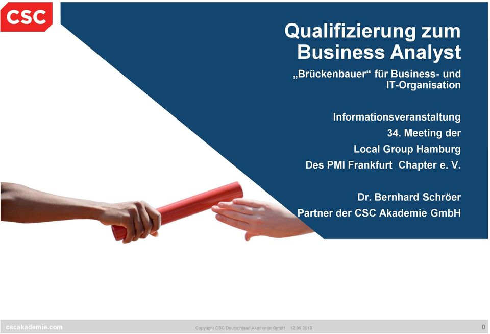 Meeting der Local Group Hamburg Des PMI Frankfurt Chapter e. V. Dr.