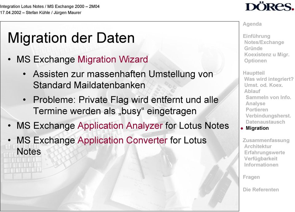und alle Termine werden als busy eingetragen MS Exchange Application
