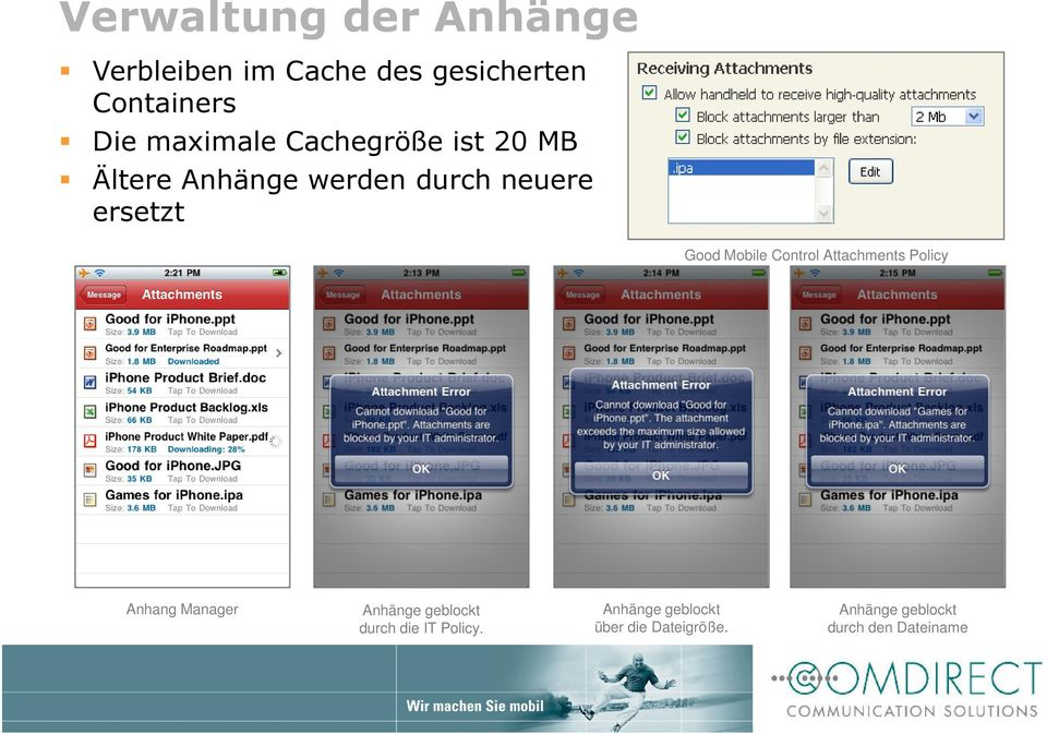 Mobile Control Attachments Policy Anhang Manager Anhänge geblockt durch die IT