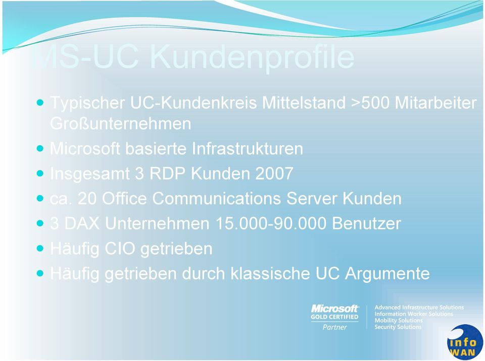2007 ca. 20 Office Communications Server Kunden 3 DAX Unternehmen 15.000-90.