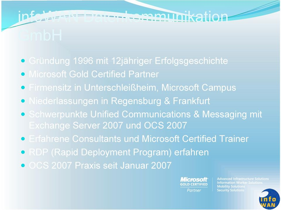 Schwerpunkte Unified Communications & Messaging mit Exchange Server 2007 und OCS 2007 Erfahrene