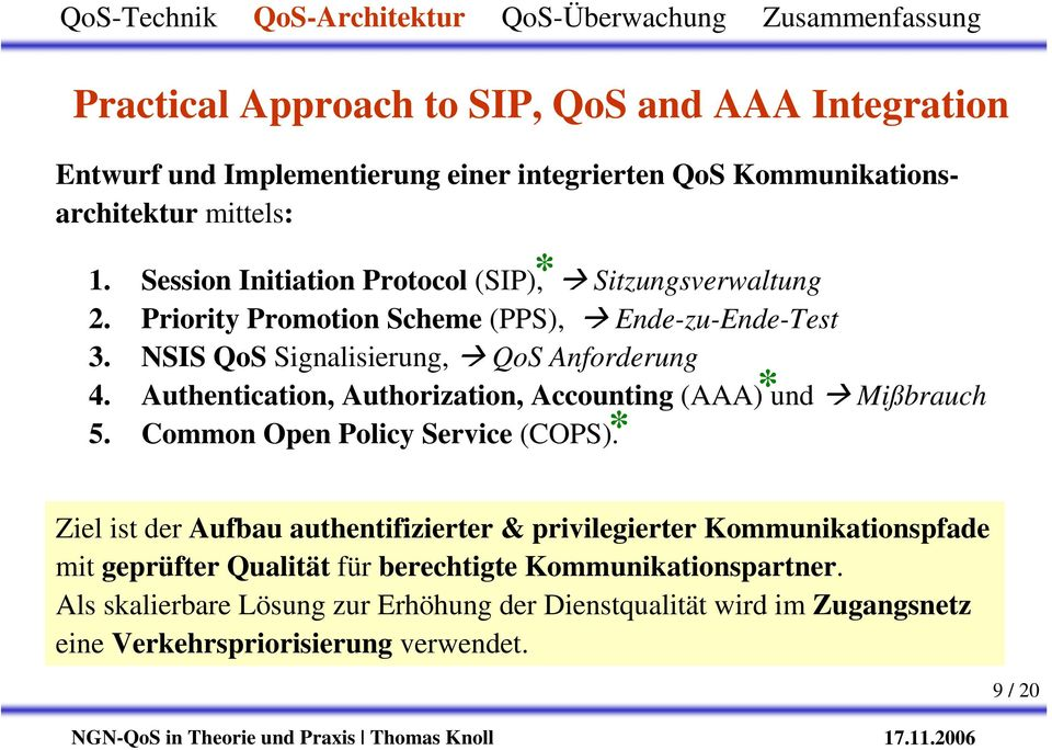 Authentication, Authorization, Accounting (AAA)* und Mißbrauch 5. Common Open Policy Service (COPS).