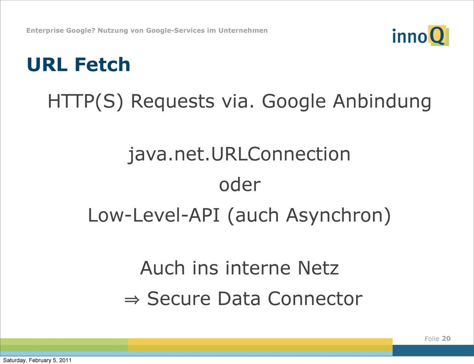 urlconnection oder Low-Level-API (auch
