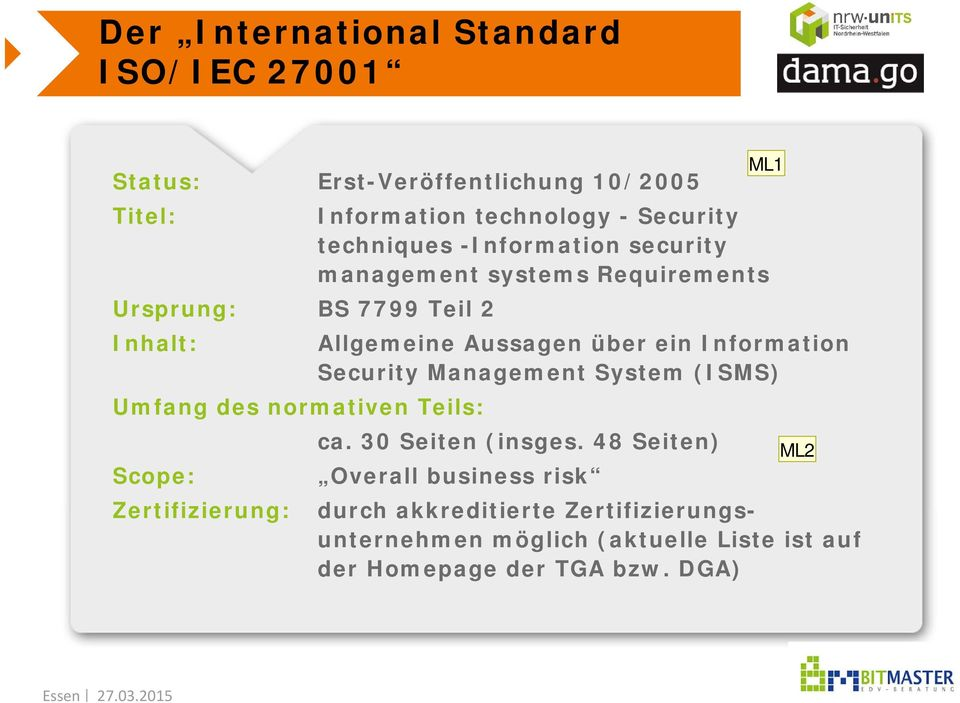 Information Security Management System (ISMS) Umfang des normativen Teils: ca. 30 Seiten (insges.