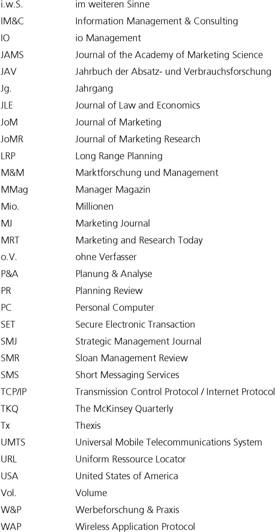 Economics Journal of Marketing Journal of Marketing Research Long Range Planning Marktforschung und Management Manager Magazin Millionen Marketing Journal Marketing and Research Today ohne Verfasser
