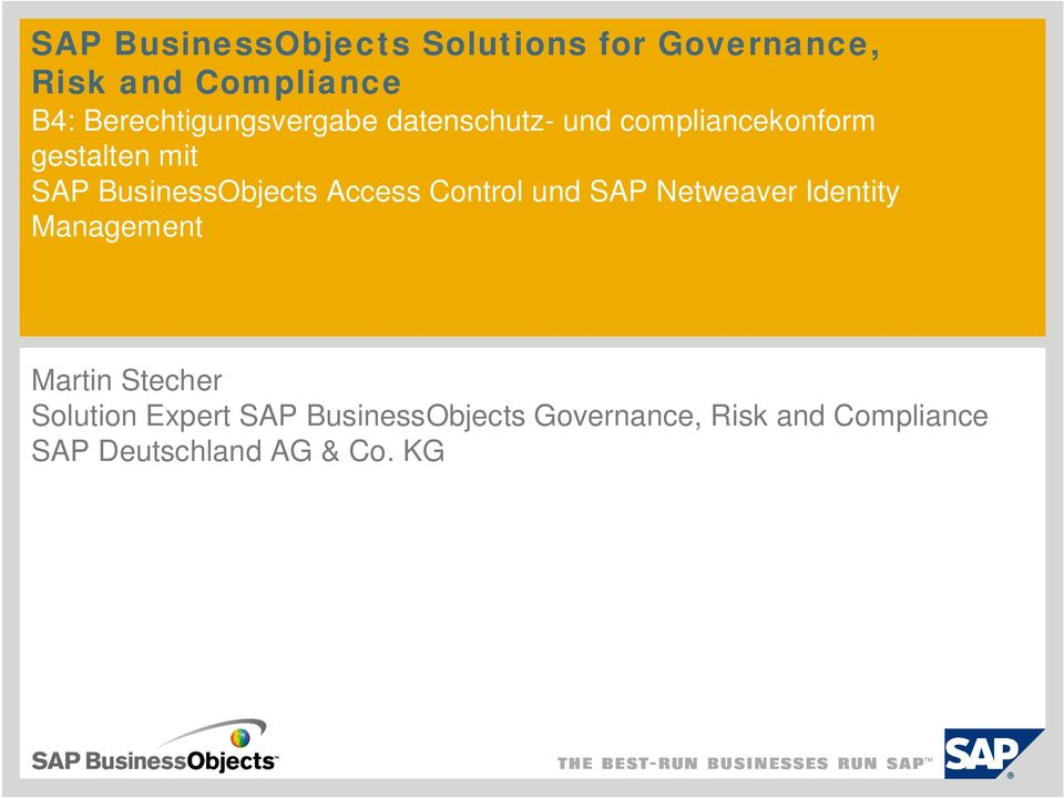 BusinessObjects Access Control und SAP Netweaver Identity Management Martin