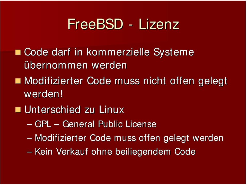 Unterschied zu Linux GPL General Public License Modifizierter