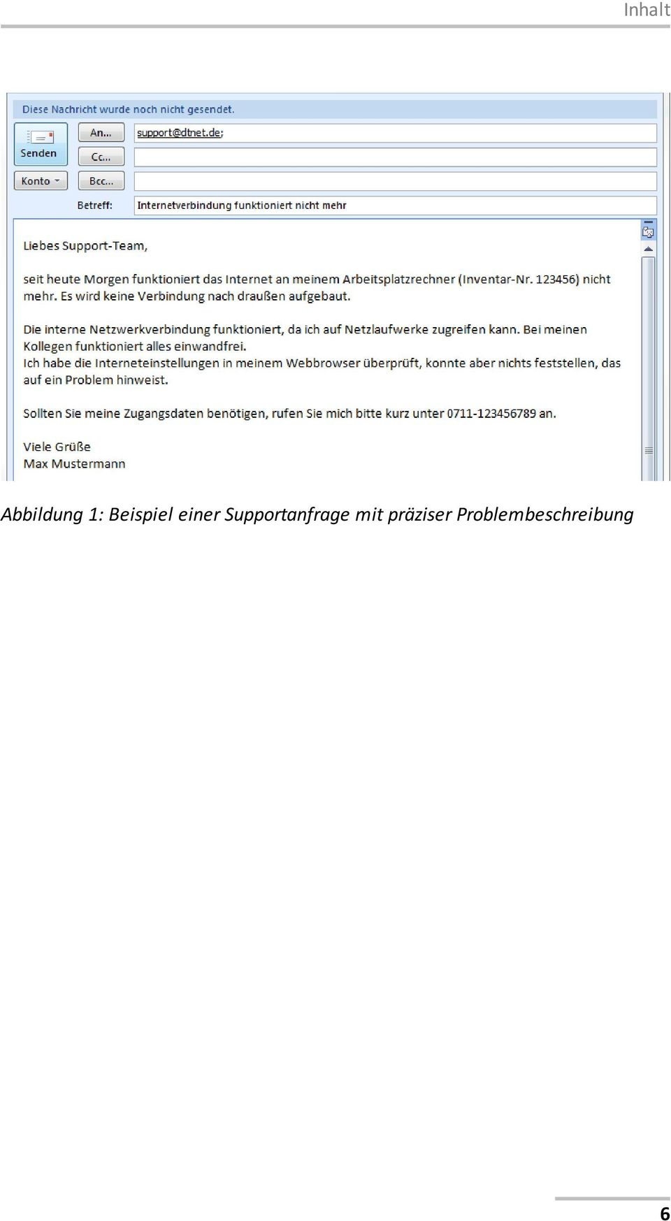 Supportanfrage mit