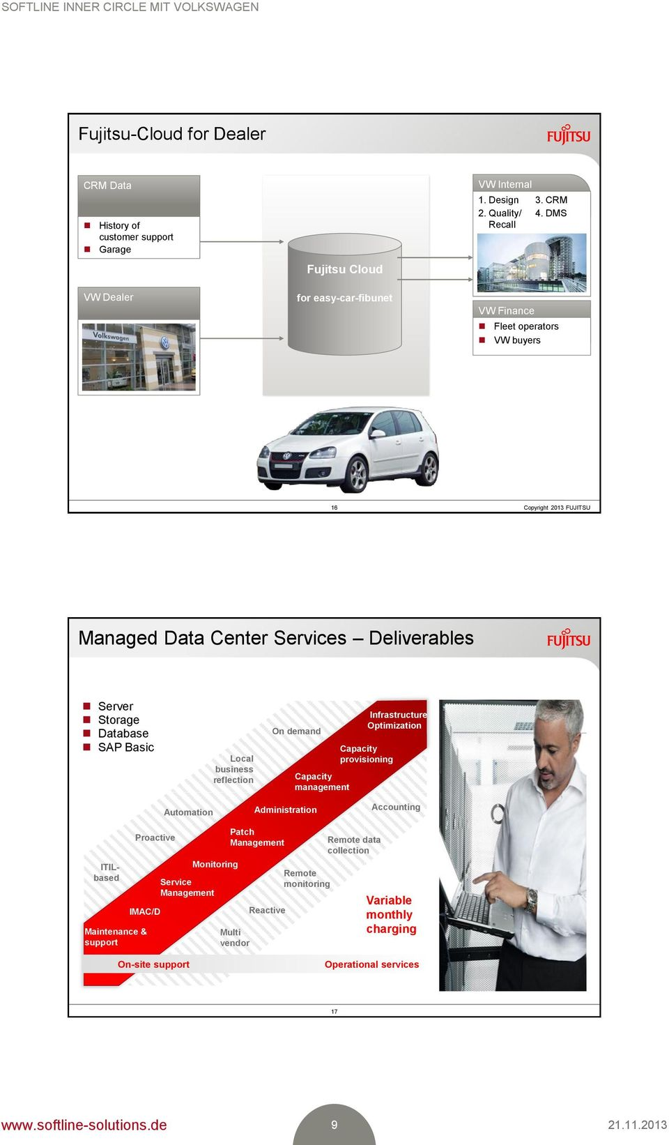 DMS Fleet operators VW buyers 16 Managed Data Center Deliverables Server Storage Database SAP Basic Local business reflection On demand Capacity management