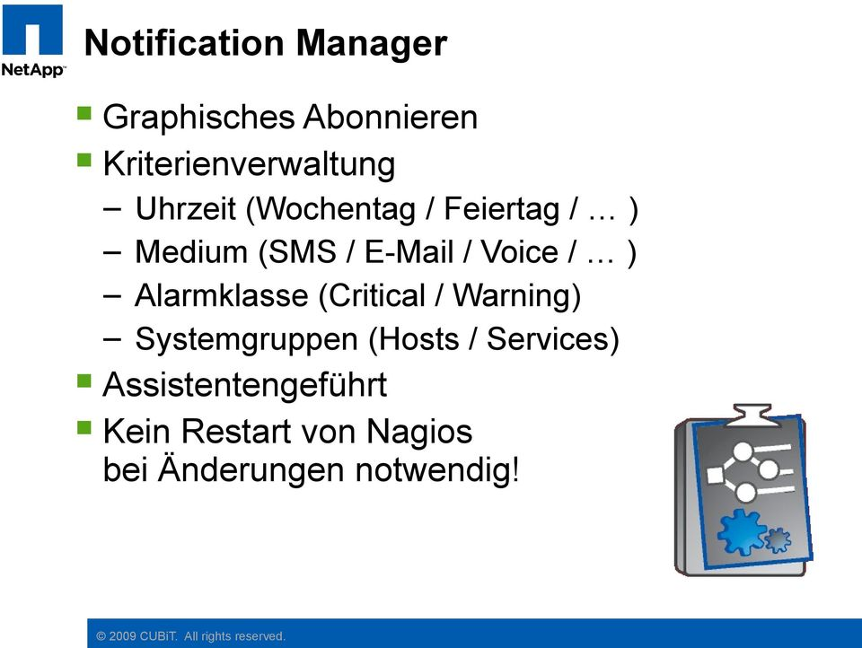 Alarmklasse (Critical / Warning) Systemgruppen (Hosts / Services)