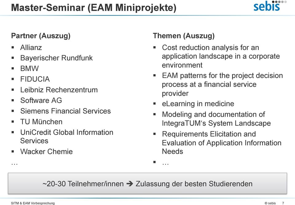 environment EAM patterns for the project decision process at a financial service provider elearning in medicine Modeling and documentation of IntegraTUM