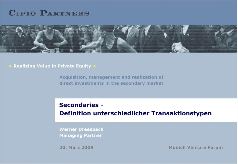 Secondaries - Definition unterschiedlicher Transaktionstypen