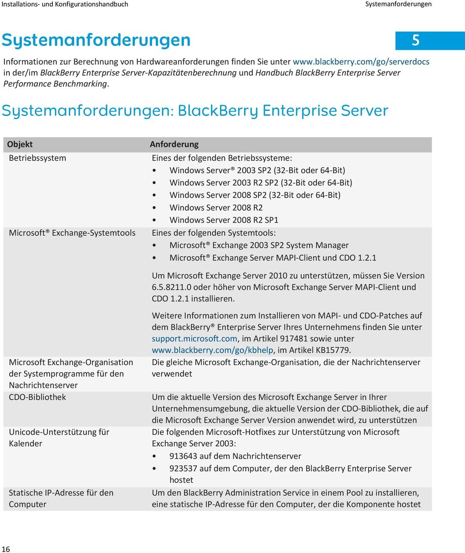 Systemanforderungen: BlackBerry Enterprise Server Objekt Betriebssystem Microsoft Exchange-Systemtools Anforderung Eines der folgenden Betriebssysteme: Windows Server 2003 SP2 (32-Bit oder 64-Bit)