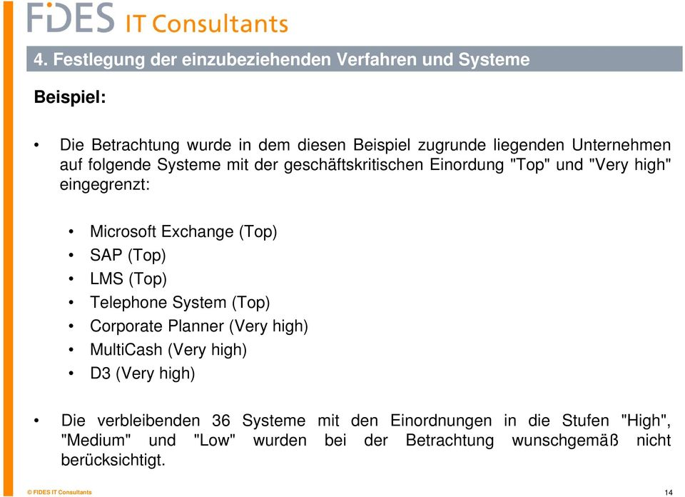 SAP (Top) LMS (Top) Telephone System (Top) Corporate Planner (Very high) MultiCash (Very high) D3 (Very high) Die verbleibenden 36