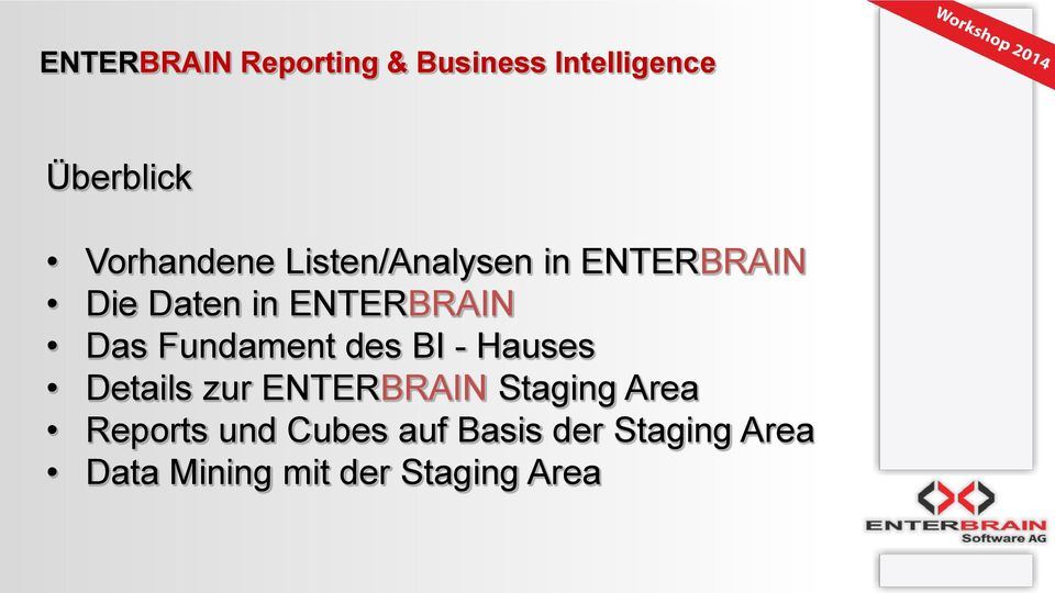 Details zur ENTERBRAIN Staging Area Reports und Cubes