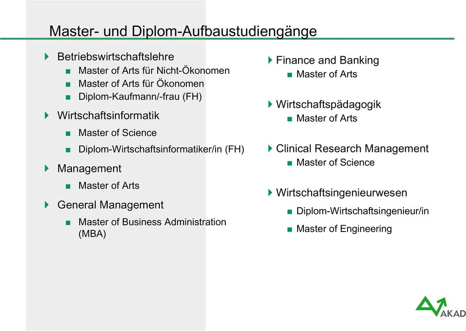 Arts General Management Master of Business Administration (MBA) Finance and Banking Master of Arts Wirtschaftspädagogik Master