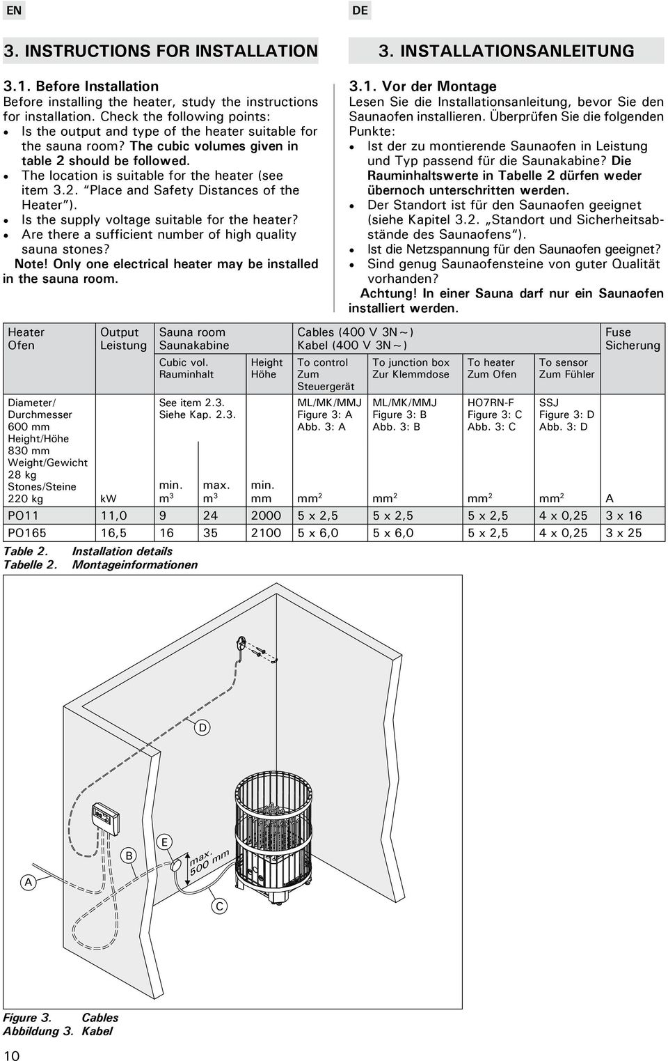 The location is suitable for the heater (see item 3.2. Place and Safety Distances of the Heater ). Is the supply voltage suitable for the heater?