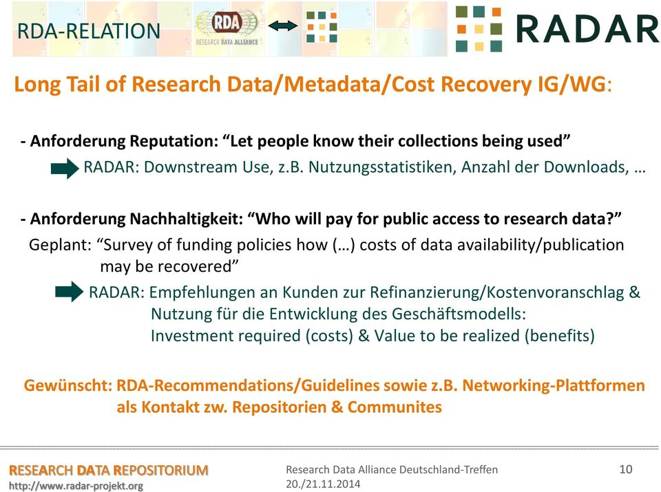Geplant: Survey of funding policies how ( ) costs of data availability/publication may be recovered RADAR: Empfehlungen an Kunden zur Refinanzierung/Kostenvoranschlag &