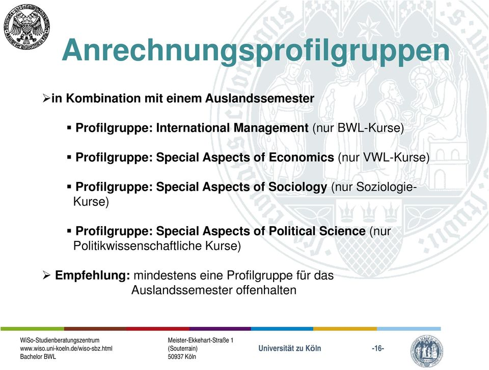 Special Aspects of Sociology (nur Soziologie- Kurse) Profilgruppe: Special Aspects of Political Science