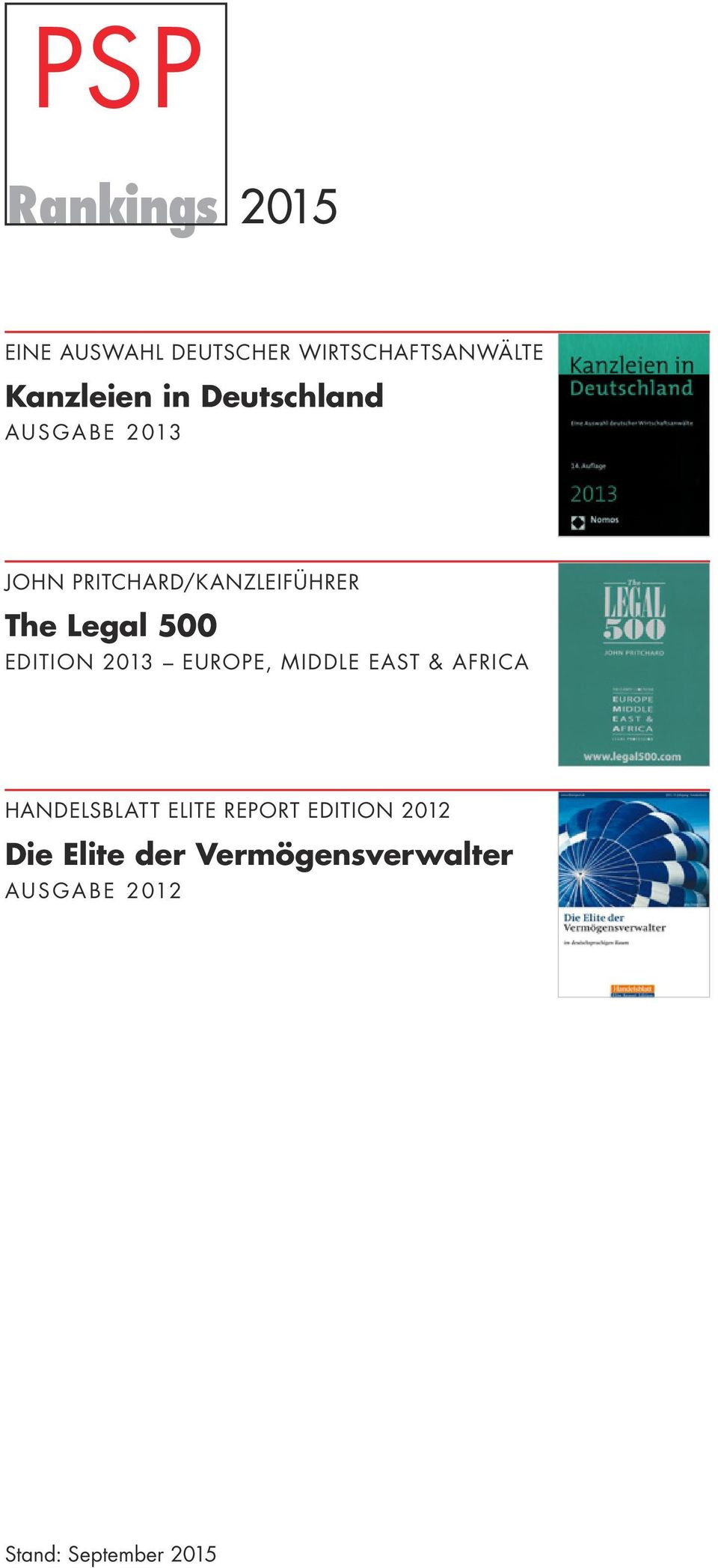 EDITION 2013 EUROPE, MIDDLE EAST & AFRICA HANDELSBLATT ELITE REPORT