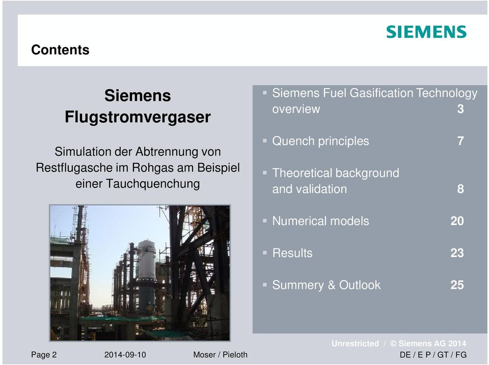 Gasification Technology overview 3 Quench principles 7 Theoretical