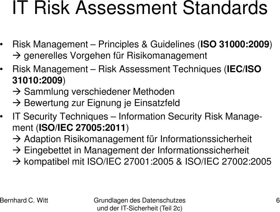 zur Eignung je Einsatzfeld IT Security Techniques Information Security Risk Management (ISO/IEC 27005:2011) Adaption